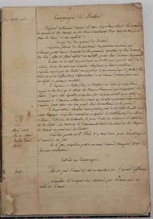 Anonymous Period French Manuscript Account of Napoleon's Invasion of Russia in 1812 Titled:]...