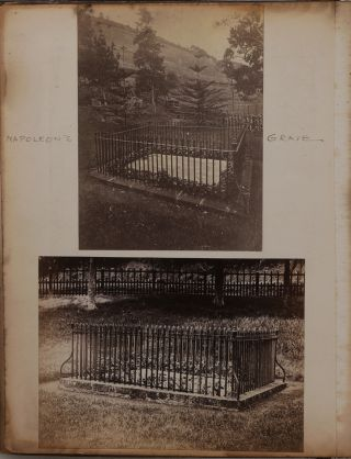 "[Historically Significant Album with 39 Original Albumen Photos of Saint Helena and Madeira; With a Loosely Inserted Piece of ""Wallpaper, Longwood Dining Room, St. Helena"" (ca. 2x4,5 cm) and Several Related Ephemera]."