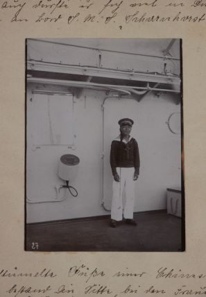 """[Album with Eighty-six Original Gelatin Silver Photographs, Apparently Taken by a Naval Officer While Serving on S.M.S. """"Scharnhorst,"""" the Flagship of the German East-Asia Squadron in 1909-1914, with the Views of Tsingtao/Qingdao, Hong Kong, Amoy/Xiamen, German Colonies in Samoa and New Guinea, Batavia, Singapore, Port Arthur, German Naval Ships and Commanders, and Scenes from the Second Chinese Revolution and the Capture of Nanjing in September 1913]."""