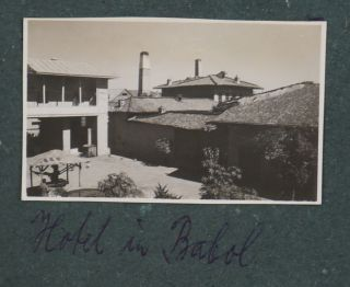 [Album with 144 Original Gelatin Silver Photos Taken by a German Resident of Tehran in the Mid-1930s Showing Tehran, Mount Damavand, Ruins of Persepolis, German Expats Living in Tehran and Travelling in the Countryside, German Administrative Building Including an Office Featuring Swastikas and Hitler's Portraits].