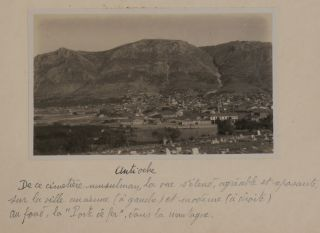 "[Album with 158 Original Gelatin Silver Photos Taken by French Priest Mauris Lejeune during his 1929 Tour of Christian and Biblical Sites of the Eastern Sinai Peninsula, British-Mandated Palestine (Modern-Day Israel) and the French-administered First Syrian Republic (Modern-Day Syria, Lebanon, and Southeastern Turkey), With Rare Views of the Lesser-Travelled Sites of Mount Hermon, Qualaat Semaan, Antioch on Orontes (Antakya), the ""Iron Gate"" and ""Iron Bridge"" near Antakya, Hiking in Lebanon's Mountains, Several Major Peaks of the Sinai Peninsula Including Mount Sinai, Mount Catherine, Mount Serbal, Desert Plains of the Eastern Sinai, Oyun Musa Springs, etc.; the Album is Titled:] Egypte – Syrie – Sinai 26 Août – 19 Octobre 1929."