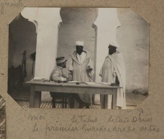 "[Collection of Two Albums with ca. 680 Original Gelatin Silver Photos Visually Documenting the Movement of the Fez Column during the French Conquest of Morocco in 1911, Office Work of ""Bureau des Renseignements de Fes,"" Relations with Moroccan Chiefs, Public Processions with Sultan Mulai Abdelhafid of Morocco; With Numerous Views of Fez, Meknes, Rabat, Mogador and Environs, Lively Portraits of Moroccans; Scenes from Later Automobile Trips in Western Morocco, Photos of Farman Planes near Mogador, etc.]"