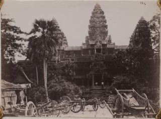 Collection of Twenty-Seven Loose Platinum and Albumen Photographs of Angkor Wat, Other Angkorian...