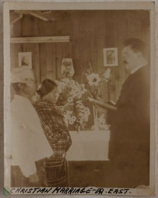 [Important Collection of Forty Loose Gelatin Silver Photos Showing the American Baptist Missionary Station in Hakha, Chin Hills, Western Burma (Myanmar), Missionary Dr. East and His Wife, Chin Converts into Christianity, Native Chiefs, Families, Villages, Ritual Objects, Scenes from a Christian Baptism and Wedding, Traditional Funeral Ceremony, Khuang-Tsawi Festival, etc.]