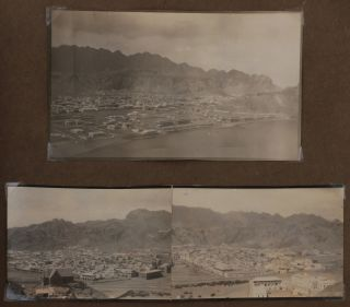 "[Album with Over 190 Original Amateur and Studio Gelatin Silver Photos and Five Printed Postcards, Documenting the Service of the 7th Battalion, British Royal Hampshire Regiment, Territorial Force, in India and Aden during WW1, Titled in Manuscript:] Views from India, sent by Pte. A.B. Rodber, 7th Hants Regt. whilst training with the expeditionary force during ""The Great War."" Commenced Aug. 30th, 1914. Kathleen A. Rodber, Richmond, Yorkshire, Dec 25, 1915."