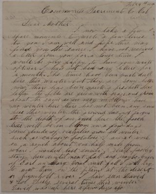 "Original Autograph Letter Signed and Addressed to his Mother and signed ""Wales Averill, the..."