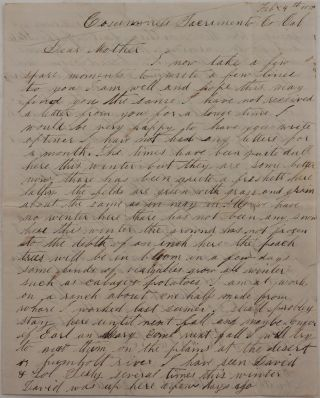"""[Original Autograph Letter Signed and Addressed to his Mother and signed """"Wales Averill, the Wanderer,"""" Talking about His Time Working on a Bachelor's Ranch in the Cosumnes River Valley, Where """"Womens' Wages Higher Than Mens,' and Men were Milking Cows and Learning how to """"Cook, Wash and Sew as well [as] Some of the Young Ladies Nowadays…""""]"""