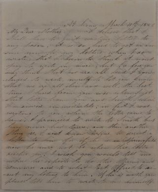 [Original Autograph Letter Signed by a Young Californian Farmer to His Mother, Talking about Spring Drought in His Area and the Latest Events of the Rouge River War in Oregon; With the Original Envelope].