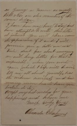 [Historically Significant Original Autograph Letter Signed by a Canadian Immigrant to the Gold Rush Town of Coloma, Addressed to his Female Friend – a Canadian Teacher and a Member of a Good Templars Lodge, Mentioning the Fenian Invasion, Dry Goods Business in Coloma and Placerville, and His Involvement in the Order of Free and Accepted Masons].