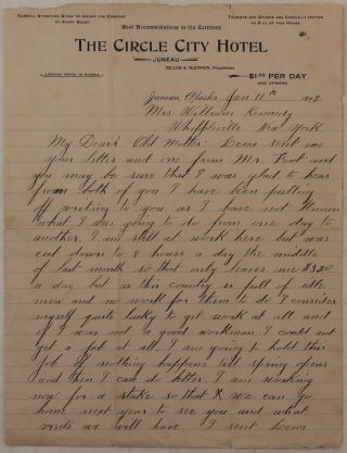 "Original Autograph Letter Written on Printed Letterhead of the Juneau's ""Circle City Hotel""..."