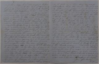 """[Original Autograph Letter Signed by a California Gold Miner, Sharing his Thoughts about Hardships in the """"Land of Golden Dreams"""" and the Democrat Presidential Candidate Franklin Pierce]."""