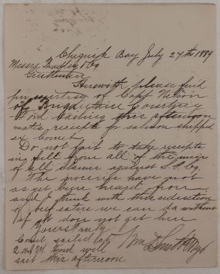 "[Collection of Three Original Autograph Letters Signed by W.D. Smith, Owner of the ""Shumagin Packing Company"" in the Chignik Bay (Alaska Peninsula), Addressed to His Agents in San Francisco and Discussing Financial Operations and Shipping of Supplies and Canned Salmon]."