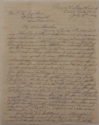 [Original Autograph Letter Signed with a Detailed Account of the U.S. Government Triangulation and Hydrographic Survey in the Eastern Prince William Sound in Summer 1902; With the Original Envelope].