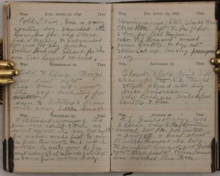 """[Historically Significant Private Archive Documenting the Experiences of a Gold Prospector during the Kenai Peninsula Gold Rush (1895-98); the Archive Consists of Wiswell's Pocket """"Excelsior"""" Diary with over 60 Pages of Entries; Two """"Notices of Location"""" for the Claims in the Turnagain Arm Mining District, Two Related Power of Attorney Documents; a Letter to Wiswell Addressed to him at """"Hope City, Cook's Inlet, Alaska;"""" and a Receipt for His Return Passage to Seattle; All Dated """"1896""""]."""
