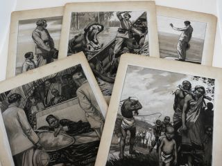 Collection of Five Large Signed Mounted Black and White Monochrome Watercolours Showing Scenes of...