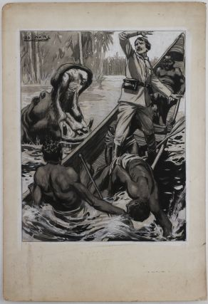 [Collection of Five Large Signed Mounted Black and White Monochrome Watercolours Showing Scenes of David Livingstone's Last Expedition Including his Meeting with Henry Stanley].