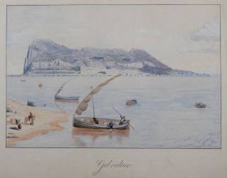 Large Signed Watercolour Panorama of Gibraltar, Titled]: Gibraltar. EUROPE - GIBRALTAR, J....