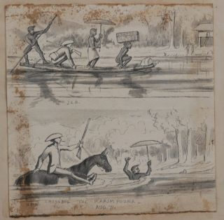 """[Attractive Private Scrap Book with Forty-Two Original Ink, Pencil, Pen and Wash Drawings and Watercolours, Eleven Albumen Photographs (Including Two Carte-de-Visite Portraits by Lala Deen Dayal), and Two Rare Lithographs by the """"Behar Lithographic Press"""" (After Sketches by Sir Charles D'Oyly). The Scrap Book Shows Winterbotham's Work and Leisure Activities while in Service in Southwestern India (Calabar, Enamakkal Lake, Karimpuzha River, Sispara Mountain, Nandi Hills, Elathur, etc.)."""