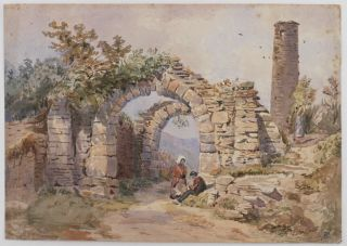 Original Watercolour View of the Ruins of the Monastic City Gateway in Glendalough in Ireland]....