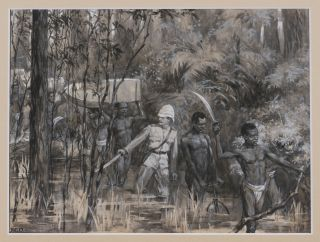 "Original Watercolour prepared for the ""Graphic"", Where it is Titled]: ""Combating the..."