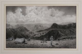 "A Grisaille Watercolour Signed ""V. Coverley-Price"" Titled:] Camp At 12,000 feet on the edge of..."