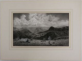 """[A Grisaille Watercolour Signed """"V. Coverley-Price"""" Titled:] Camp At 12,000 feet on the edge of the Puna in the Andes of Central Peru."""