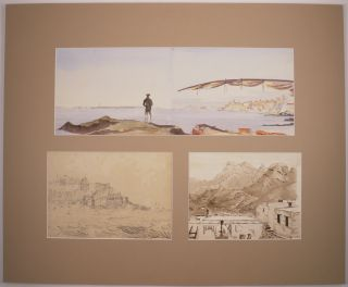 [Three Works: a Watercolour, an Ink and a Pencil Sketch of Tangier].