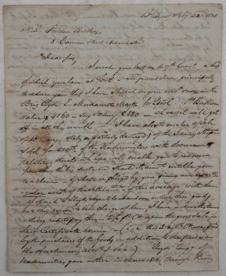 An Extensive Autograph Letter Signed, from James Hodgson' Merchant at Buenos Aires' to...