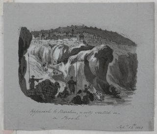 """[Seven Watercolour and Ink Drawings of the Euphrates Valley and the Environs of Baghdad After Plates from J. Buckingham's """"Travels in Mesopotamia"""" and R. Mignan's """"Travels in Chaldaea""""]."""