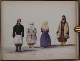 Album with over Forty Original Pencil Drawings and Watercolours Depicting Views and People of...