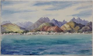 Attractive Watercolour View of Honolulu, Diamond Head and the Koolau Mountains Taken from the...