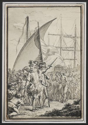 Elegant Grisaille Watercolour Showing Columbus Landing in America with the Explorer Encouraging...