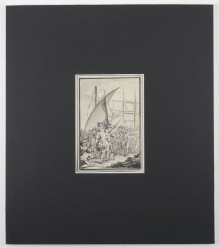 [Elegant Grisaille Watercolour Showing Columbus Landing in America with the Explorer Encouraging his Party to go Forward, and a Group of Native Americans and a Spanish Ship in the Background].