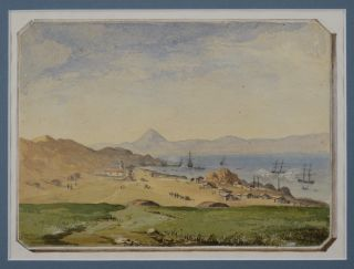 Original Watercolour Showing the Harbour of Coquimbo, Chile]. SOUTH AMERICA - CHILE, B. J. PRITCHETT