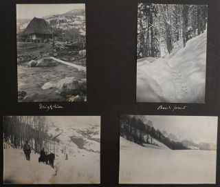 [Album with Nine Original Watercolours, and Sixty-Four Original Gelatin Silver Photographs Made on a Mountaineering Trip to Montenegro and Albania, with Interesting Views of the Komovi Mountains of the Dinaric Alps (Andrijevica Village, Kucki Kom Peak, Tara River), Durmitor Mountain Range, Podgorica, Kolasin, Niksic, Zabljak, Cetinje; Lake Skatar, Kir River and Shkodër City in Albania, and Others; With: Seven Watercolour Views of Rural France at Rear].