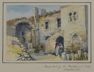 [Collection of Twenty-eight Very Attractive Original Watercolour Views of the Holy Land; [With:] Two Watercolours from the Same Travel Showing Surghaya village in the Anti-Lebanon Mountains (Syria) and the Acropolis in Smyrna/Izmir (Turkey)].
