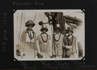 """[Album with 127 Original Gelatin Silver Photos and Real Photo Postcards Taken and Collected During the South Pacific Cruise of U.S.S. """"Buford"""" in Spring 1924, with Unusual Views and Portraits from Suva and Lavuka (Fiji), Neiafu Village (Vavau Island, Tonga), Niue (Island Country), Rarotonga (Cook Islands), Papeete (Tahiti), and Samoa; with Early Photos of the Laie Hawaii LDS Temple (Oahu) and Vivid Tourist Group Portraits at the Edge of the Kilauea Volcano (the Big Island)]."""