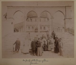 [Album with Fifty-seven Original Photos of the Holy Land and Middle East, Including Iconic Views of Jerusalem, Bethlehem, Jericho, Bethany, Baalbec, Beirut etc. by the Bonfils Studio, and Rare Unusual Photos of Damascus and Constantinople by the Local Studios of Suleiman Hakim and Mihran Iranian].