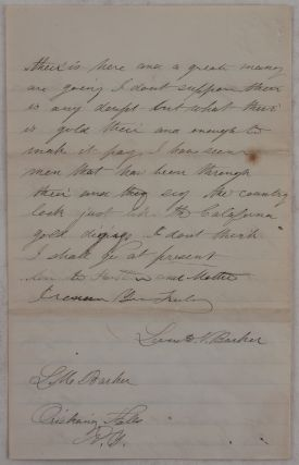 [Autograph Letter Signed by the Owner of a Jewellery Store in Eddyville, Iowa, to His Brother in Oriskany Falls, New York, Talking About his New Shop, the Construction of a Railroad Planned to Reach Eddyville, and a Description of the Recent Pike's Peak Gold Rush].