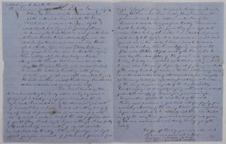 [Extensive Autograph Letter Signed by a Gold Miner from Michigan Bluff (Placer County, California), Describing the Hardships of His Work on the Basin Mine, Sharing His Loneliness and Longing for Home, and Supplemented with His Original Verses about the Gold Rush].