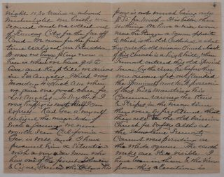 [Autograph Letter Signed to His Aunt, Talking about His First Month in Los Angeles, Mission San Gabriel Arcángel, the Capture of Los Angeles by John C. Fremont in August 1846, the City's Active Business Life, His Attempt to find work Picking Grapes, Market Prices for Grapes and Wine, &c.]