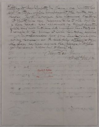 """[Autograph Letter Signed Regarding the Defense of Dakota Outlaw """"Laughing Sam"""" (Samuel S. Hartman), and Mentioning the New Governor of the Dakota Territory William A. Howard, the First State's Attorney of the Lawrence County A.J. Flanner, and Yankton's Store Owner and Public Figure A.W. Lavender]."""