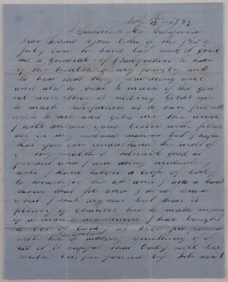 """[Autograph Letter Signed with the Original Envelope, Talking about Farming in the Santa Clara Valley, Prices for Barley, Flour, Horses, Cattle and Milk Cows, Average Wages, the Increased """"Emigration,"""" and Saying that """"This Valy is Healthy and Pleasant and is Bound to Bee a Wealthy Place""""]."""