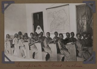 [Album with Fifty-One Original Gelatin Silver Photos of the Flourishing Network of Catholic Missions and Schools in the South of the Uganda Protectorate, Showing the Vicar Apostolic of Uganda Henri Streicher, the Founder of the Bwanda Sister's Convent Mother Mechtilde, the First Ugandan Mother Superior Mama Cecilia Nalube, Views of the Bwanda Sister's Convent, Villa Maria Hospital, Portraits of the Nuns, Novitiates and Schoolchildren, Students from the Schools in Kisubi, Kitovu, Nandere, White Fathers in the Mitala Maria Mission, et al.].