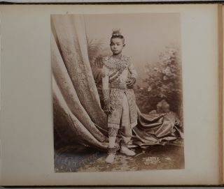 [Exquisite Lacquered Album with 25 Large Original Albumen and Gelatin Silver Views of Bangkok and Portraits of Thai People].