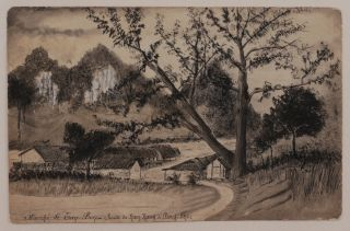 [Album of Ten Original Pen and Wash Sketches of Military Fortifications, Villages and Mountainous Views of Tonkin (North Vietnam) Taken by a Participant of the French Military Campaign on Pacification of Tonkin (1886-1896)].