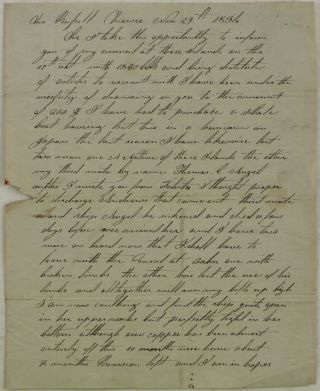 Historically Early and Important Autograph Letter Signed from Whaling Master Geo[rge] Crocker to...
