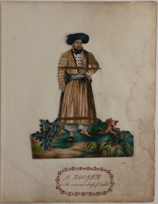 "[Five Indian School Watercolour, Ink and Pencil Portraits Signed ""CP,"" Showing the Traditional Dress of People and Leaders in the Kingdom of Caubul [Kabul] During the Durrani Dynasty (1747-1842) Perhaps used as the Original Archetype Illustrations for Montstuart Elphinstone's, 1815 Book:] ""An Account of the Kingdom of Caubul, and its Dependencies in Persia, Tartary, and India; comprising a view of the Afghaun Nation, and a history of the Doorauni Monarchy.""]"