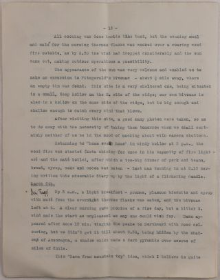 [Typewritten Manuscript Account of the Fifth Ascent of Aconcagua, by British Climber Edward de la Motte and American Mountaineer James Ramsey Ullman, Being also the First American Ascent of Aconcagua, Titled:] Horcones Valley and Aconcagua. February/March 1928.