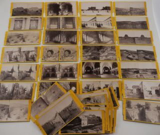 Collection of Forty-Eight Original Albumen Stereo-view Photographs of Jerusalem, Bethlehem,...